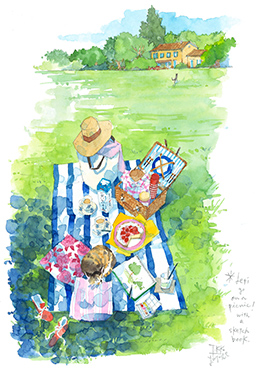 Let's go on a picnic! with a sketch book.
